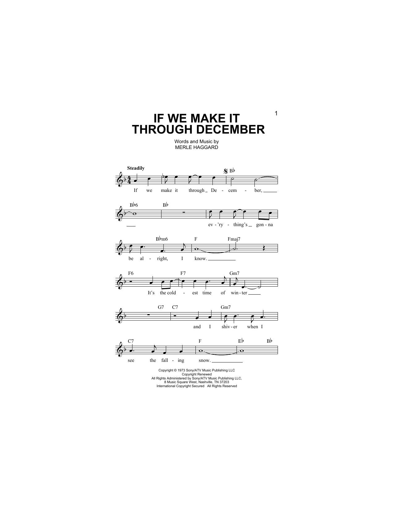 If We Make It Through December Sheet Music