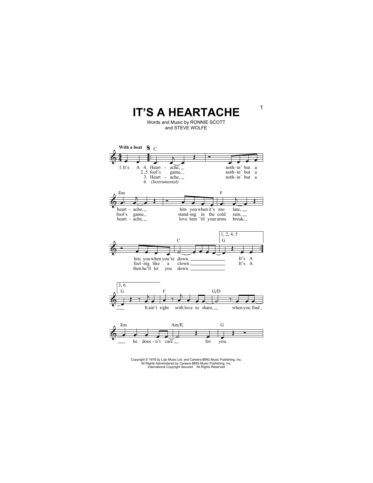 It's A Heartache Sheet Music