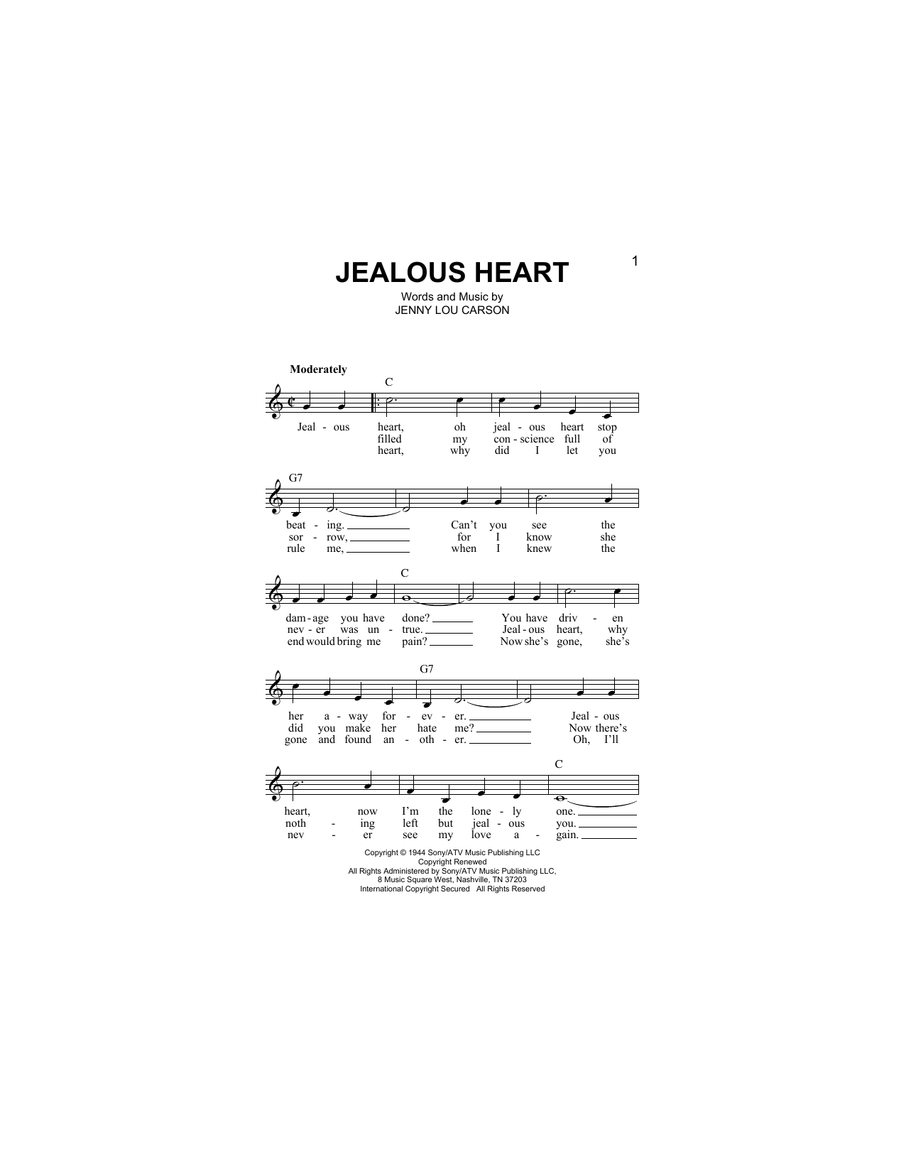 Jealous Heart Sheet Music