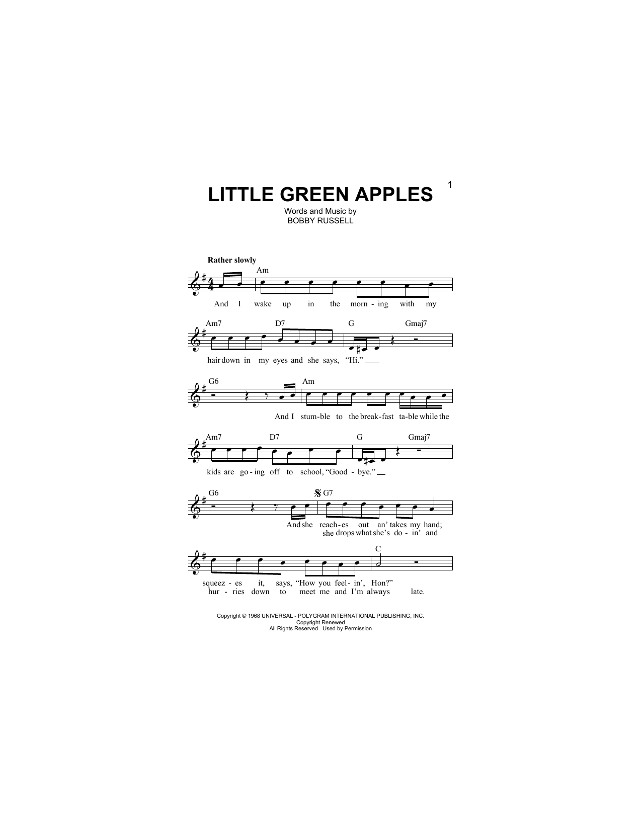 Little Green Apples (Lead Sheet / Fake Book)