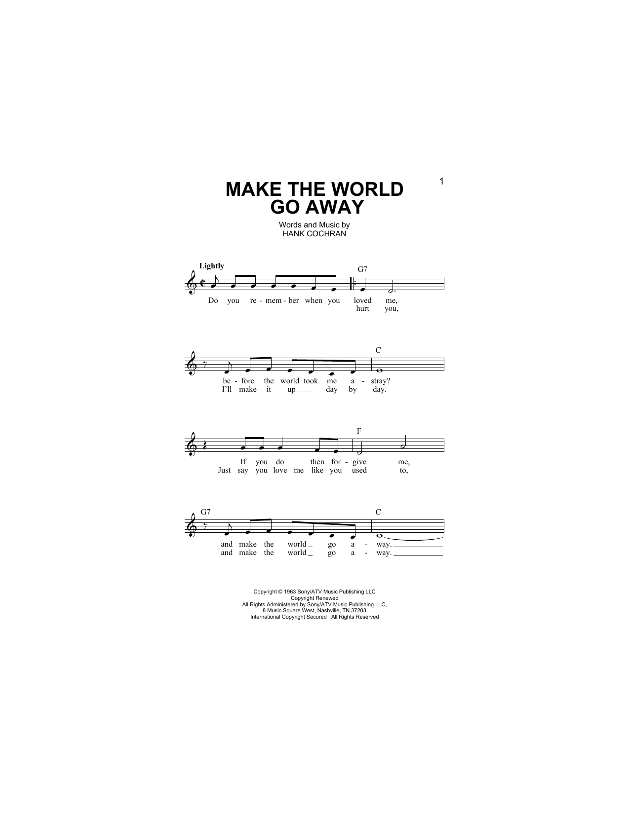 Make The World Go Away (Lead Sheet / Fake Book)