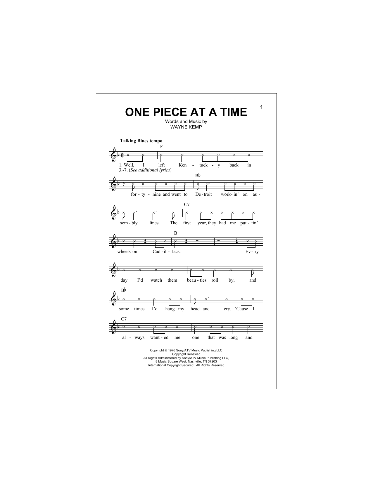 One Piece At A Time Sheet Music