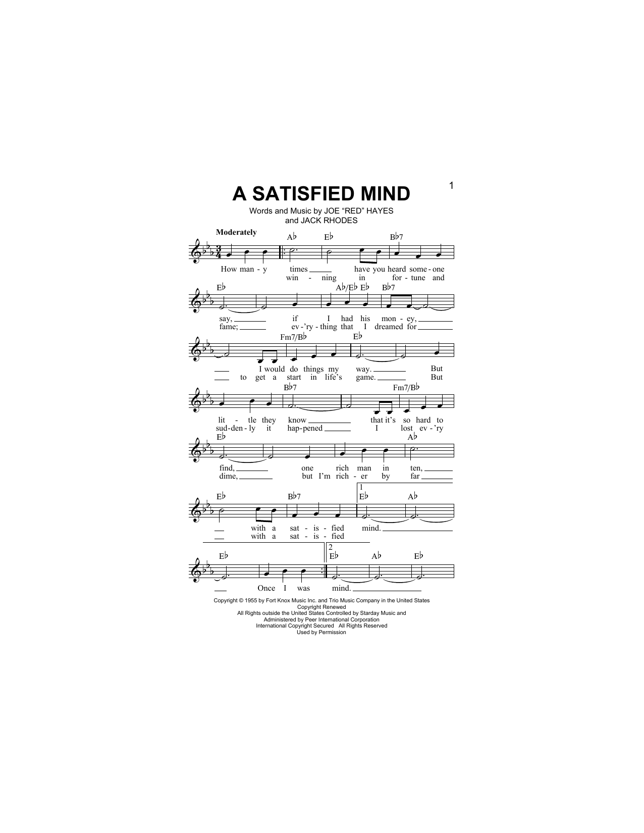 A Satisfied Mind Sheet Music