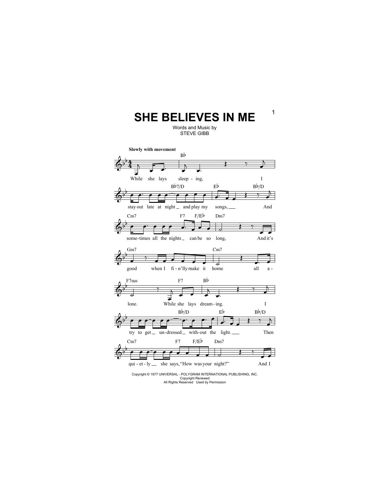 She Believes In Me Sheet Music