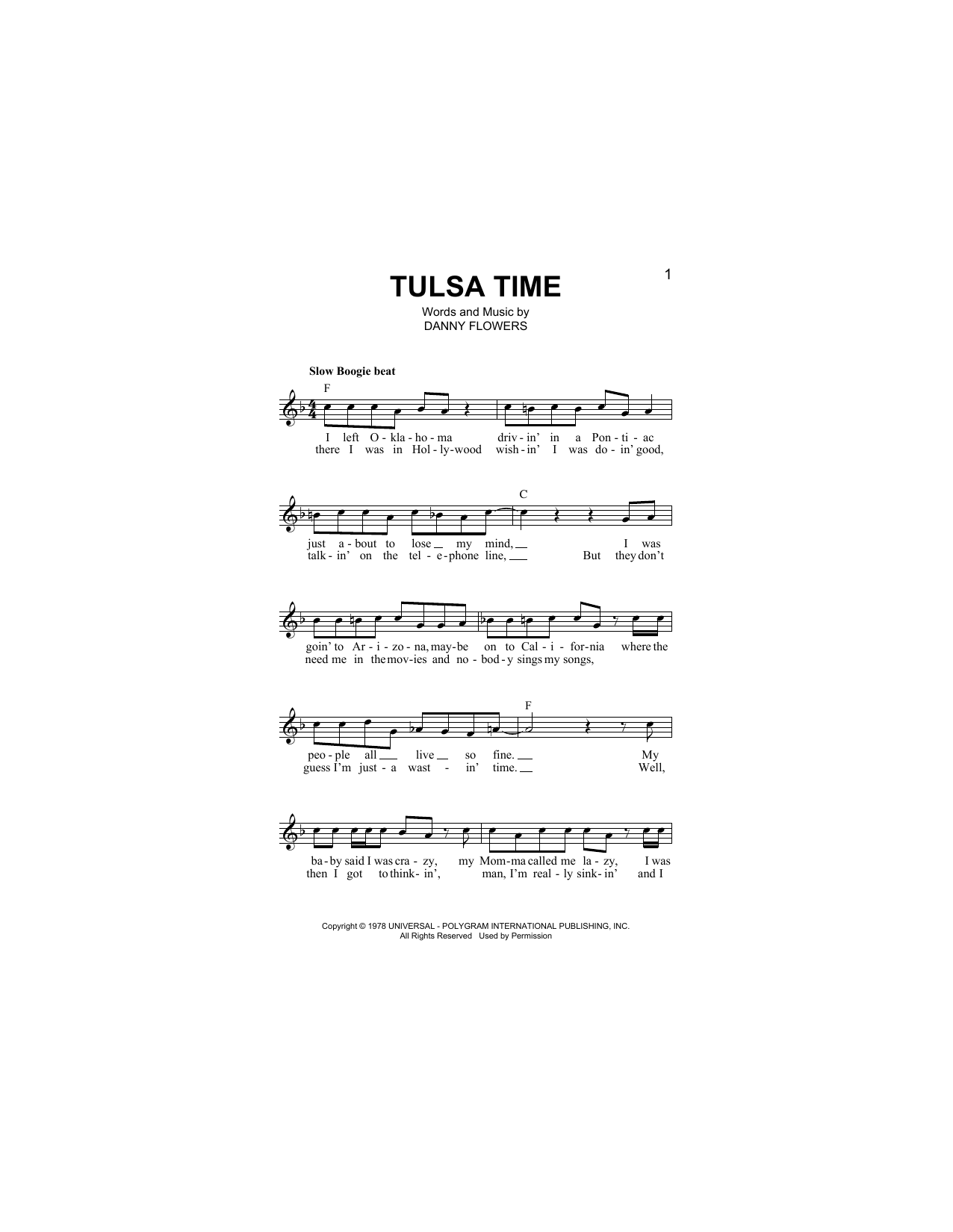 Tulsa Time Sheet Music