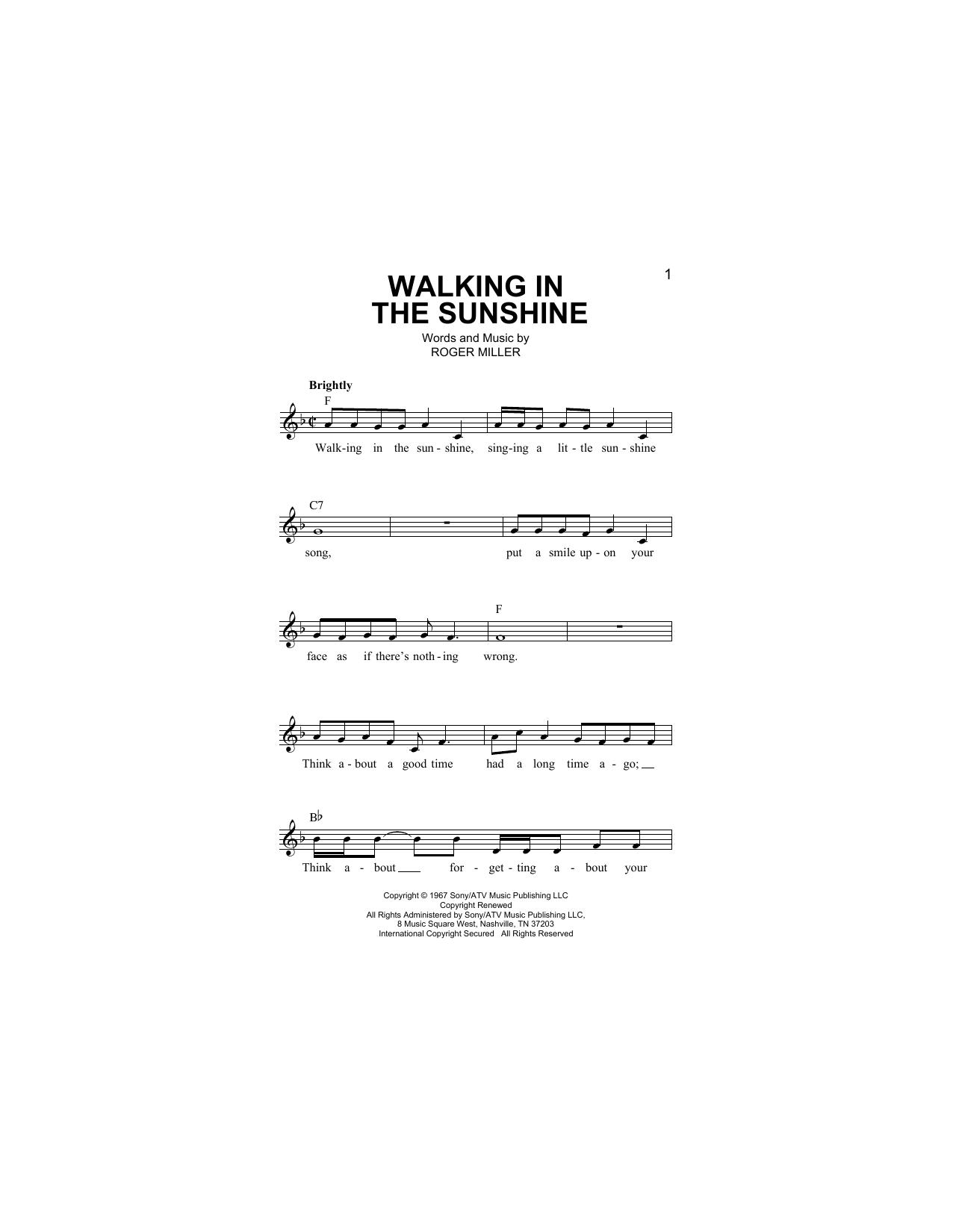 Walking In The Sunshine Sheet Music