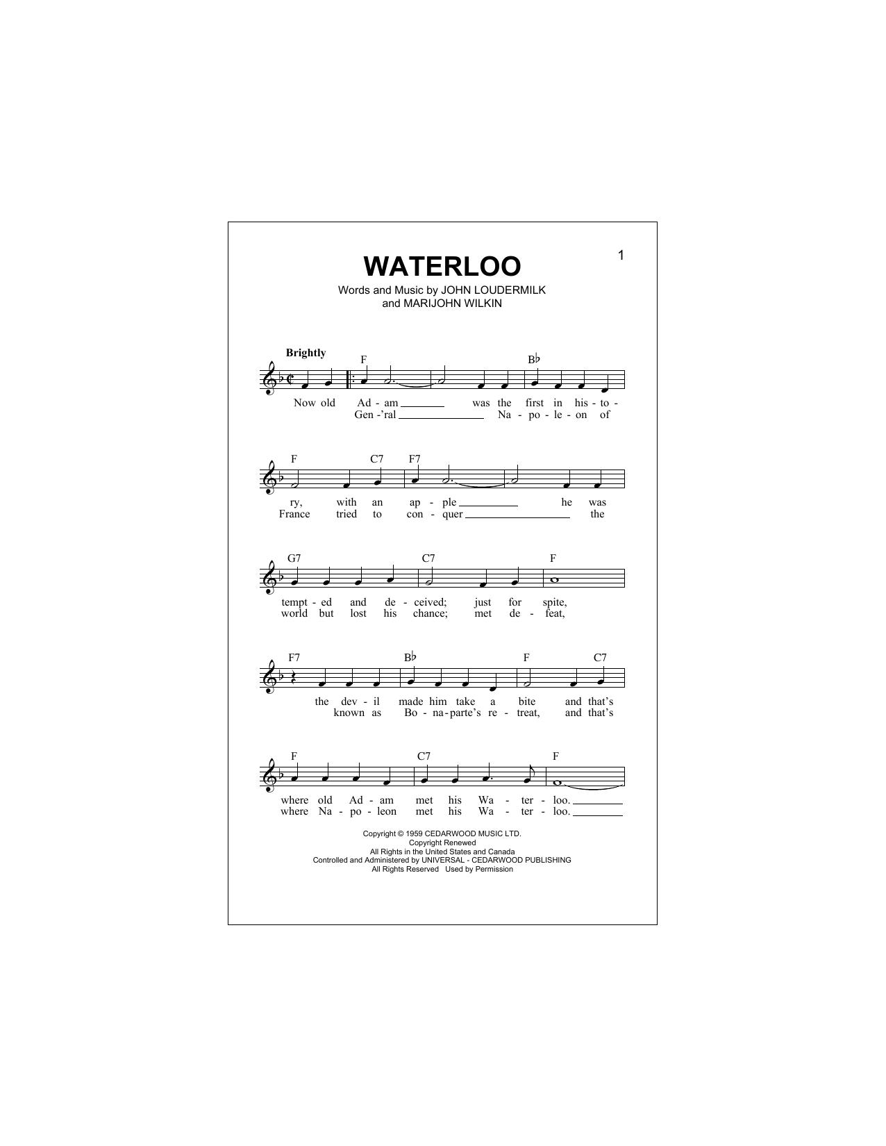 Waterloo (Lead Sheet / Fake Book)