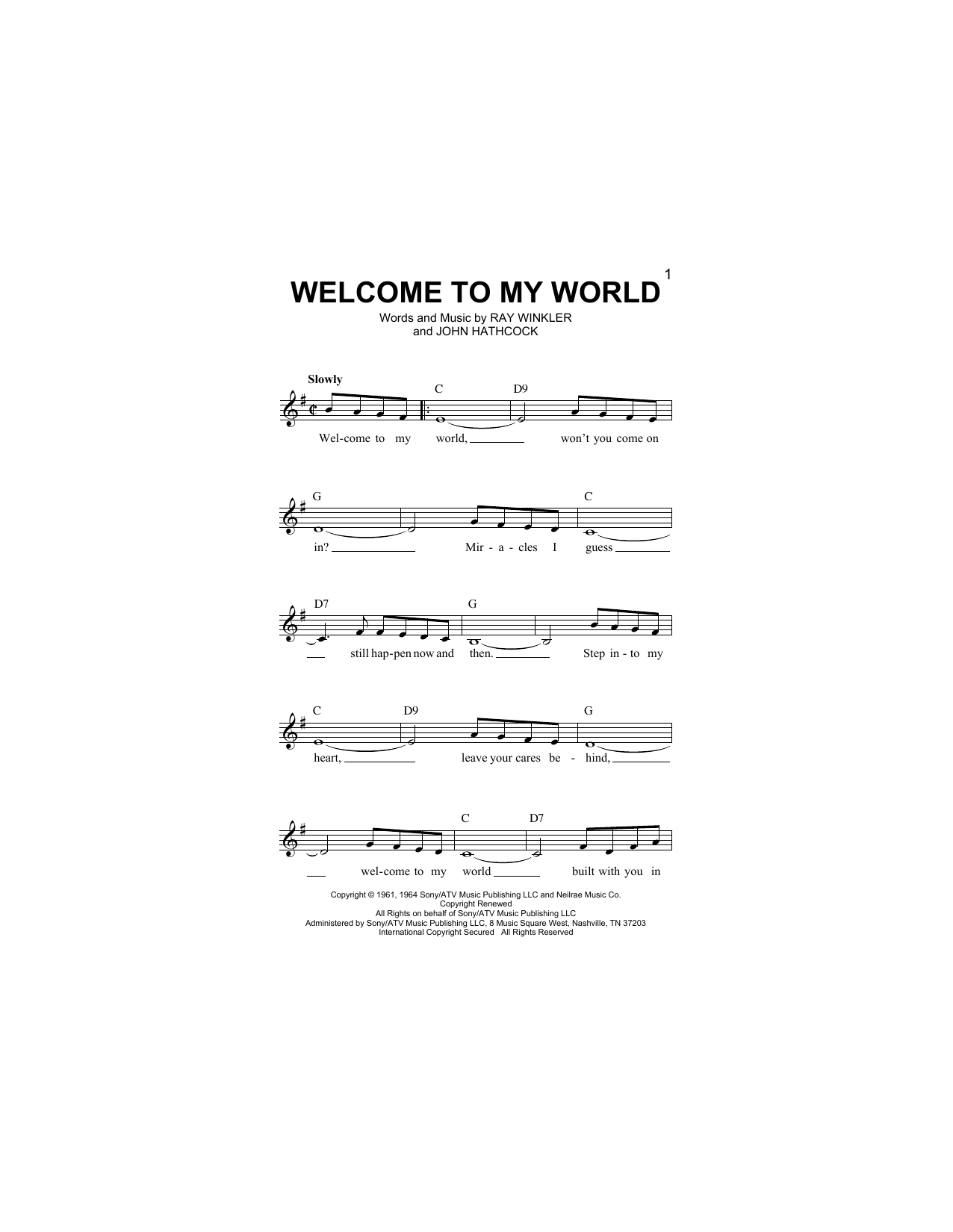 Welcome To My World Sheet Music