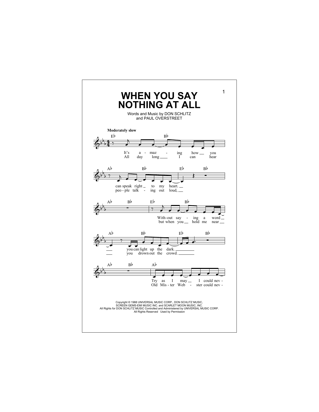 When You Say Nothing At All Sheet Music