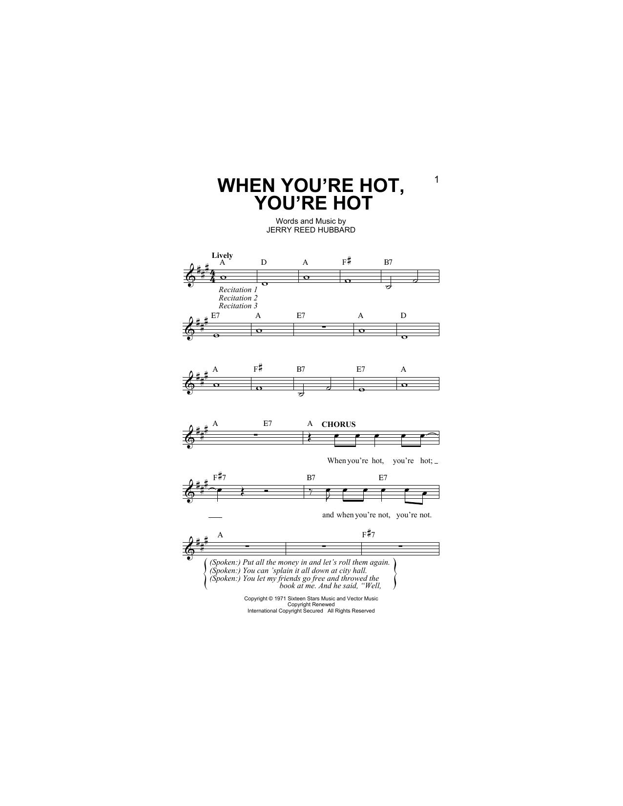 When You're Hot, You're Hot Sheet Music