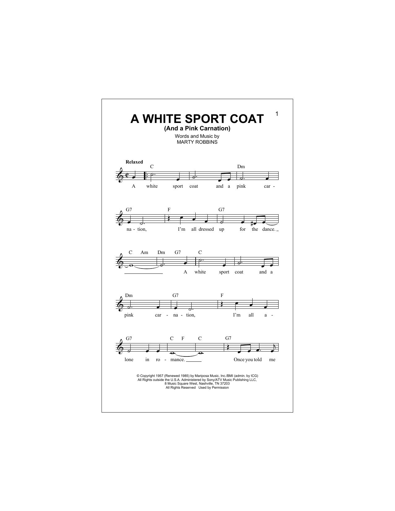 A White Sport Coat (And A Pink Carnation) Sheet Music
