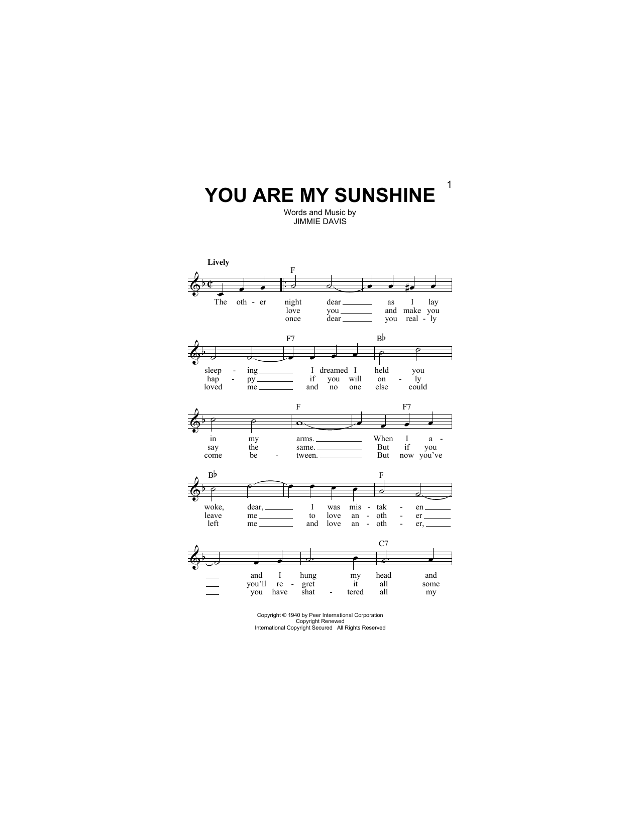 You Are My Sunshine Partition Digitale