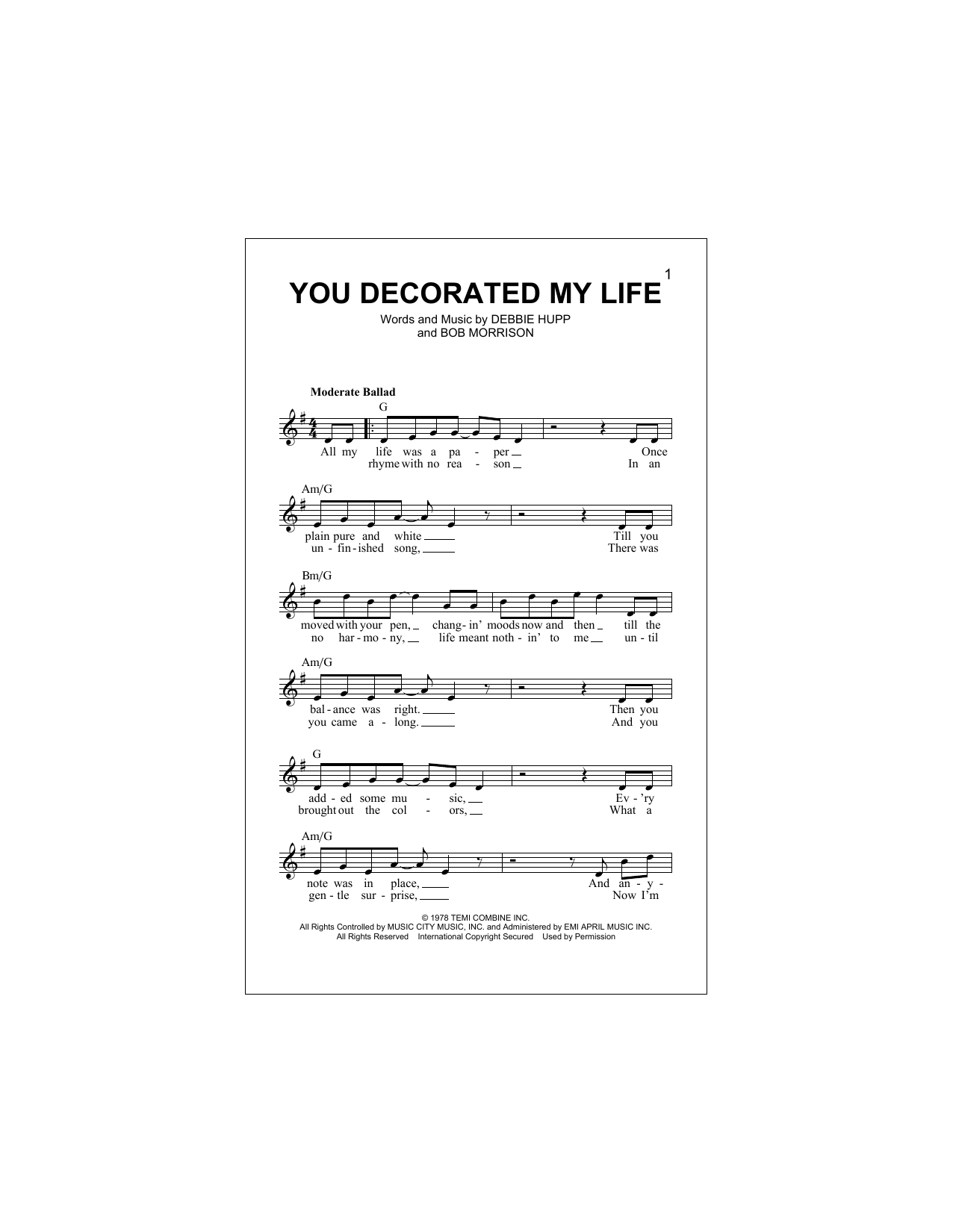 You Decorated My Life Sheet Music