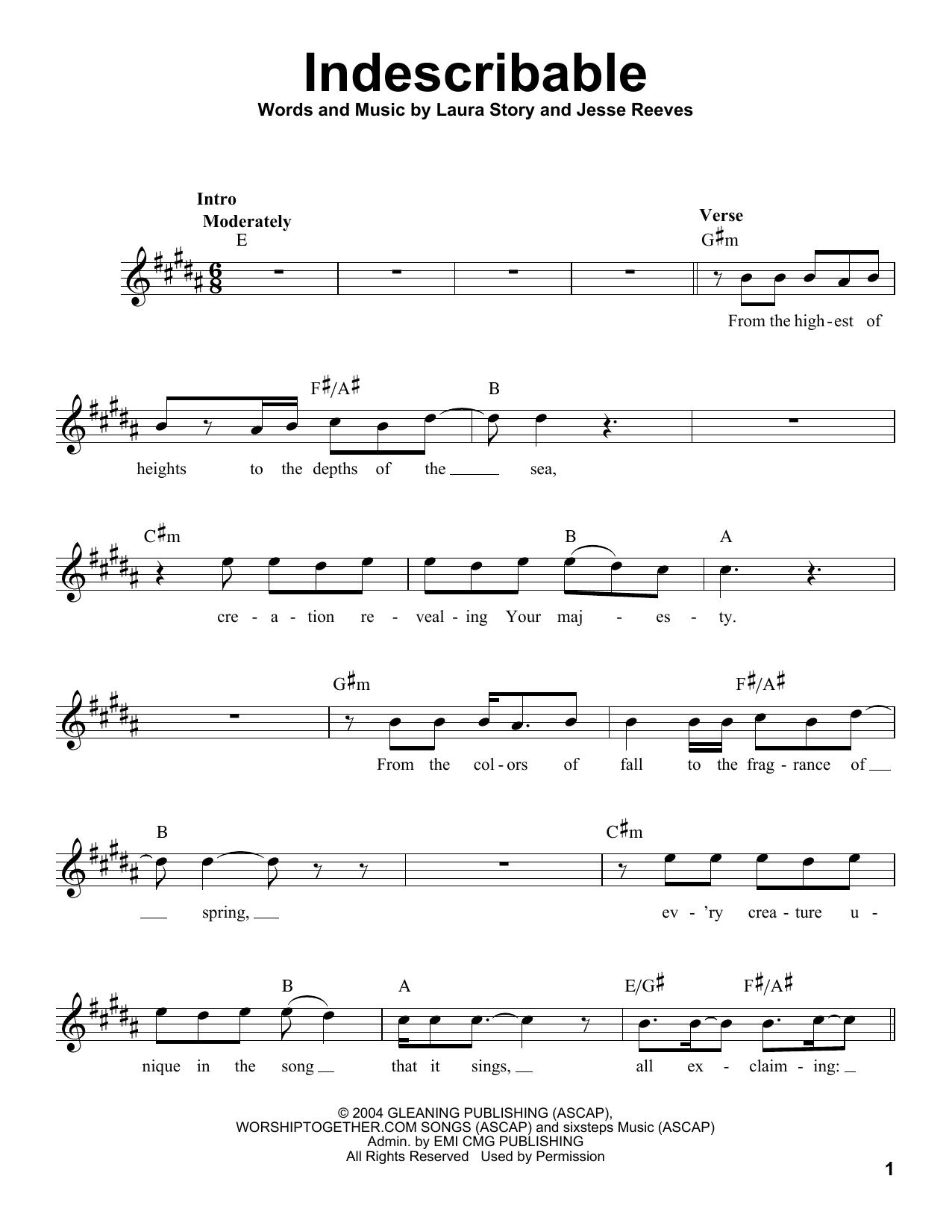 Indescribable Sheet Music