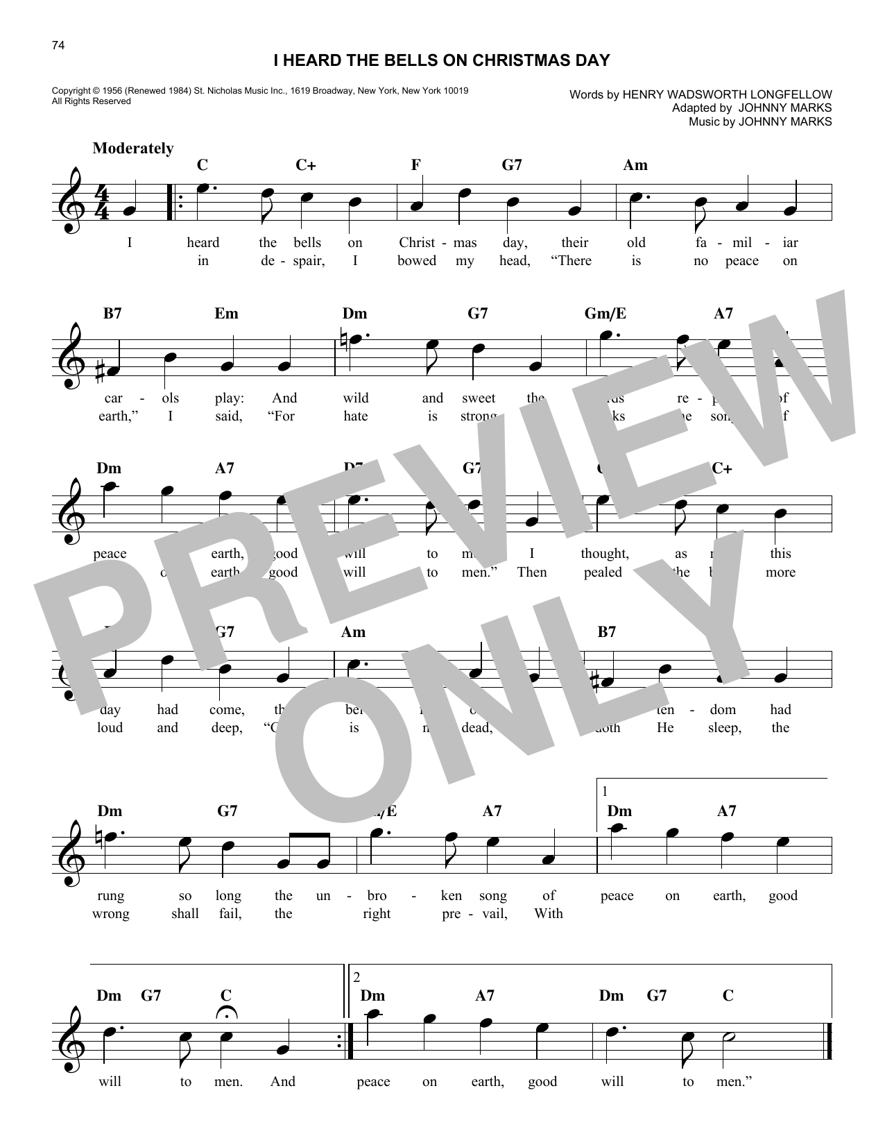 I Heard The Bells On Christmas Day (Lead Sheet / Fake Book)