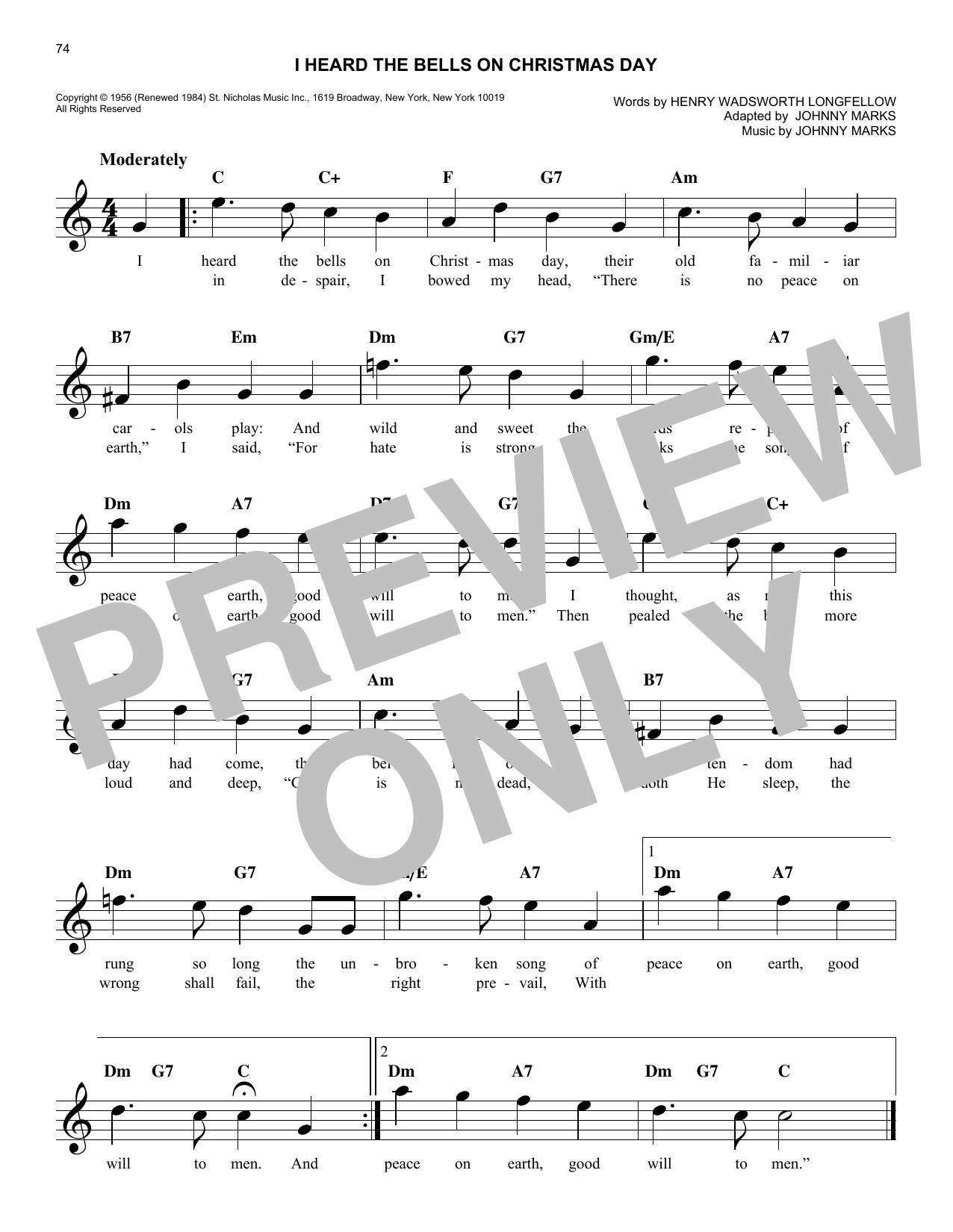 i heard the bells on christmas day sheet music - I Heard The Bells On Christmas Day Lyrics