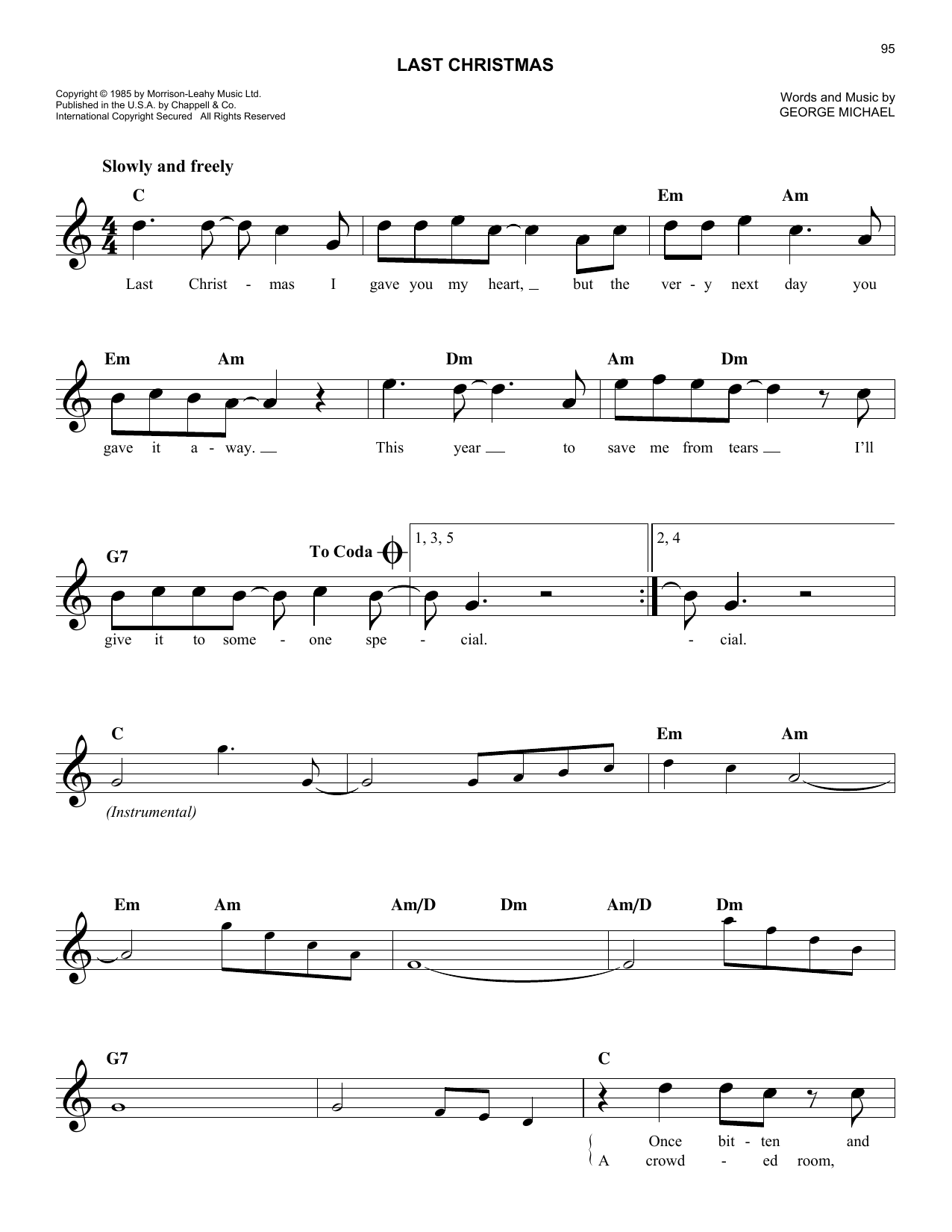 Last Christmas (Lead Sheet / Fake Book)