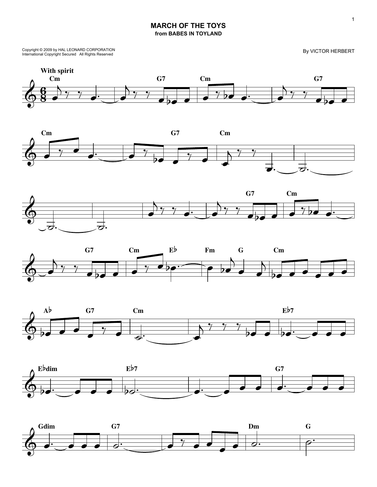 March Of The Toys (Lead Sheet / Fake Book)