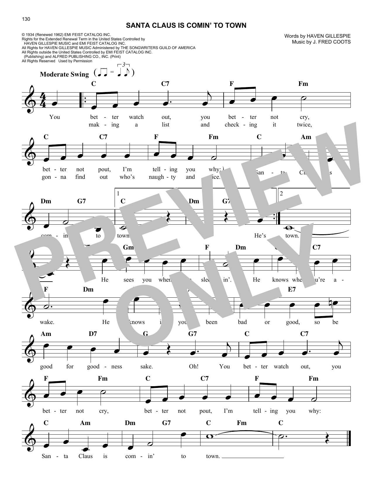 Santa Claus Is Comin' To Town (Lead Sheet / Fake Book)