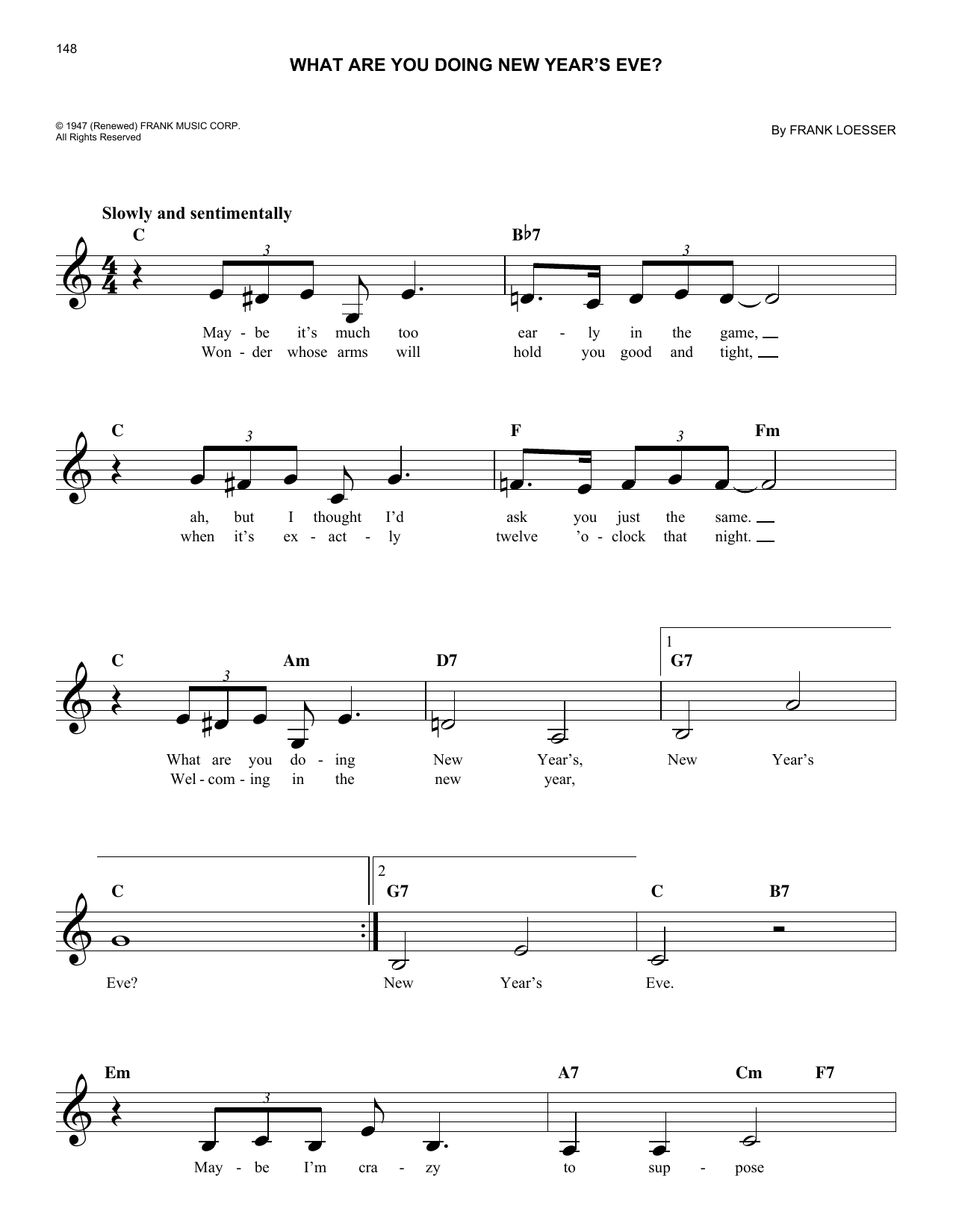 What Are You Doing New Year's Eve? (Lead Sheet / Fake Book)