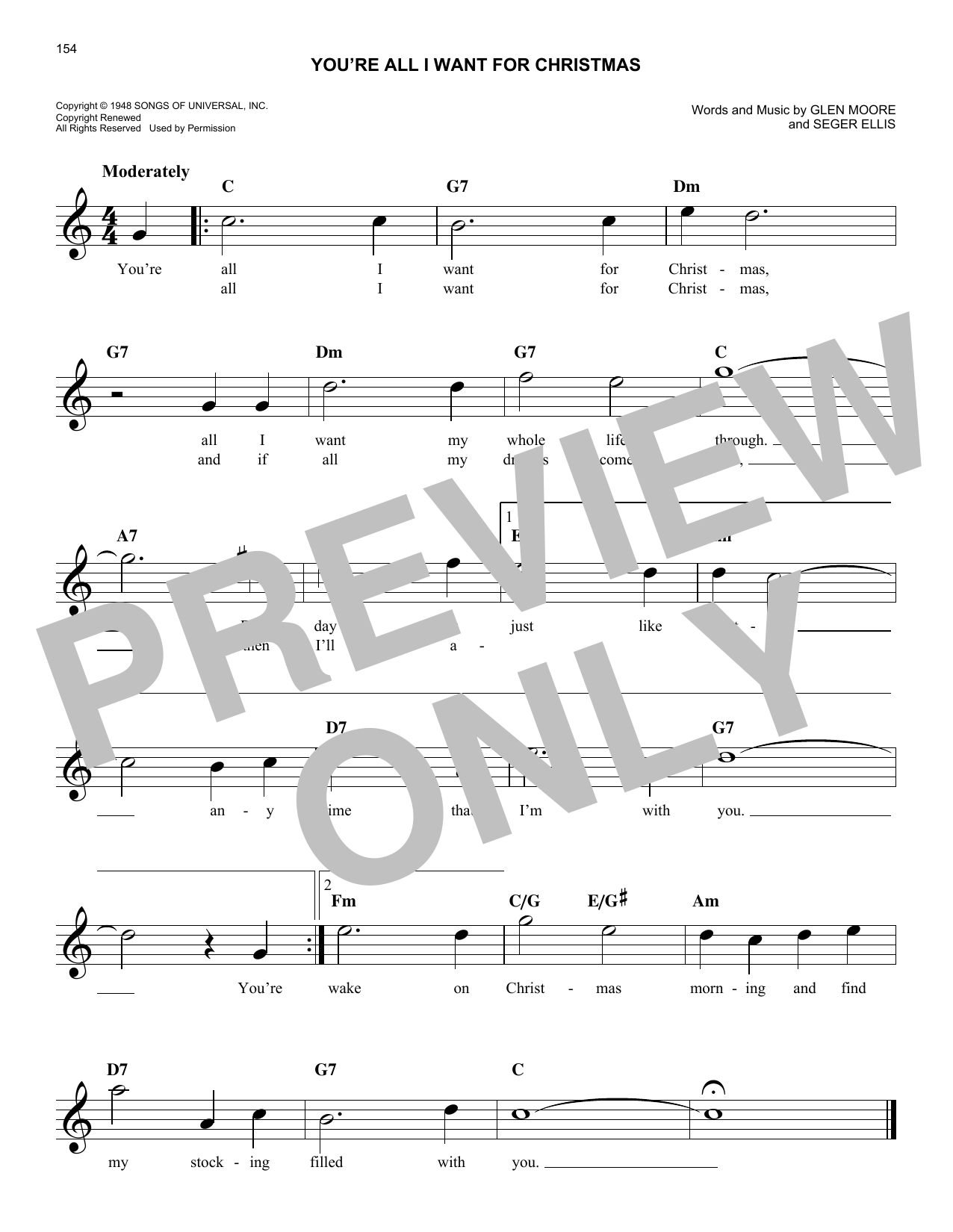You're All I Want For Christmas (Lead Sheet / Fake Book)
