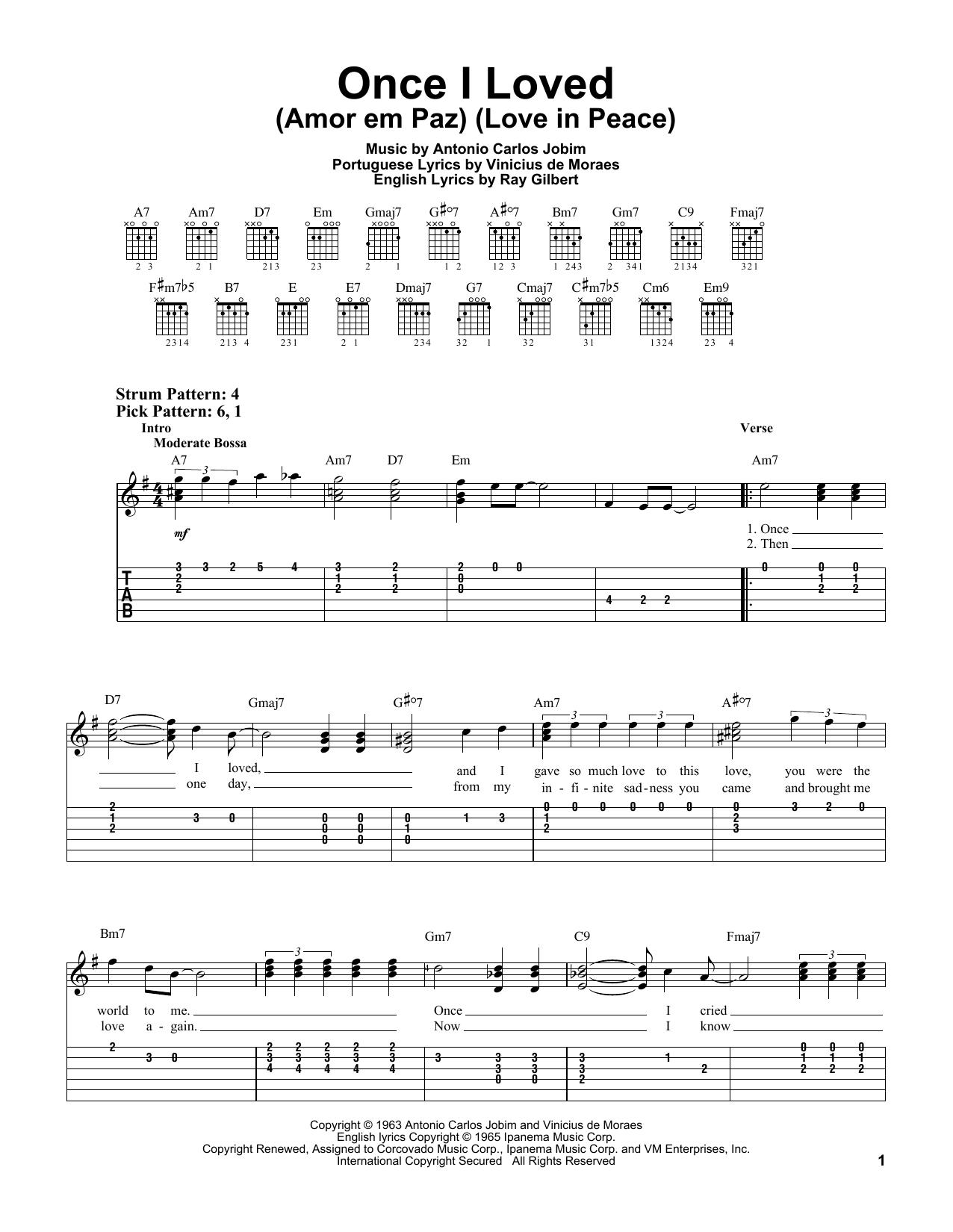 Once I Loved (Amor Em Paz) (Love In Peace) (Easy Guitar Tab)