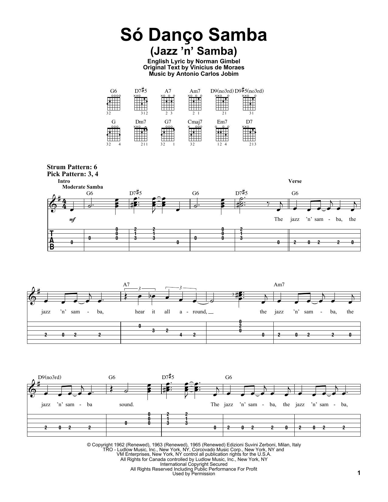 Tablature guitare Jazz 'N' Samba (Só Danço Samba) de Antonio Carlos Jobim - Tablature guitare facile
