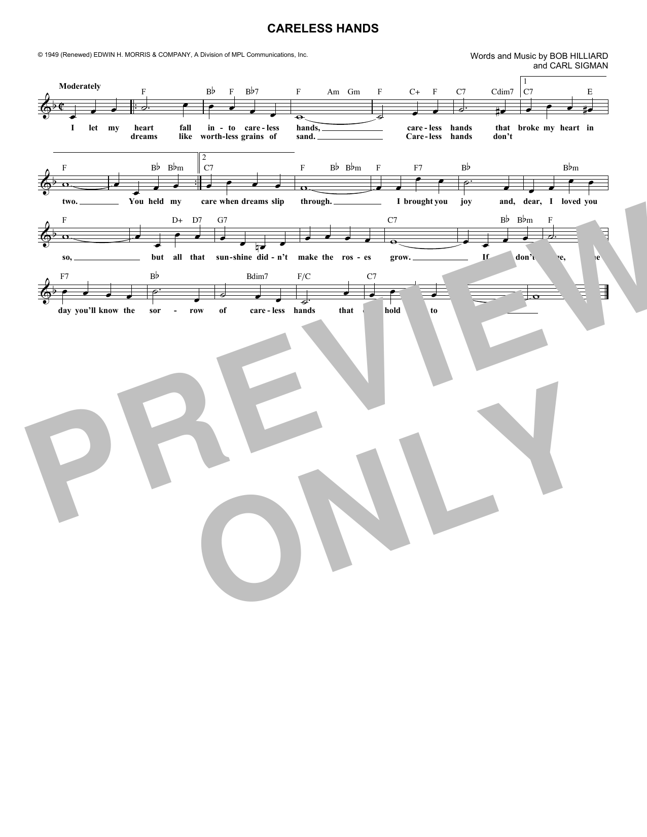 Careless Hands (Lead Sheet / Fake Book)