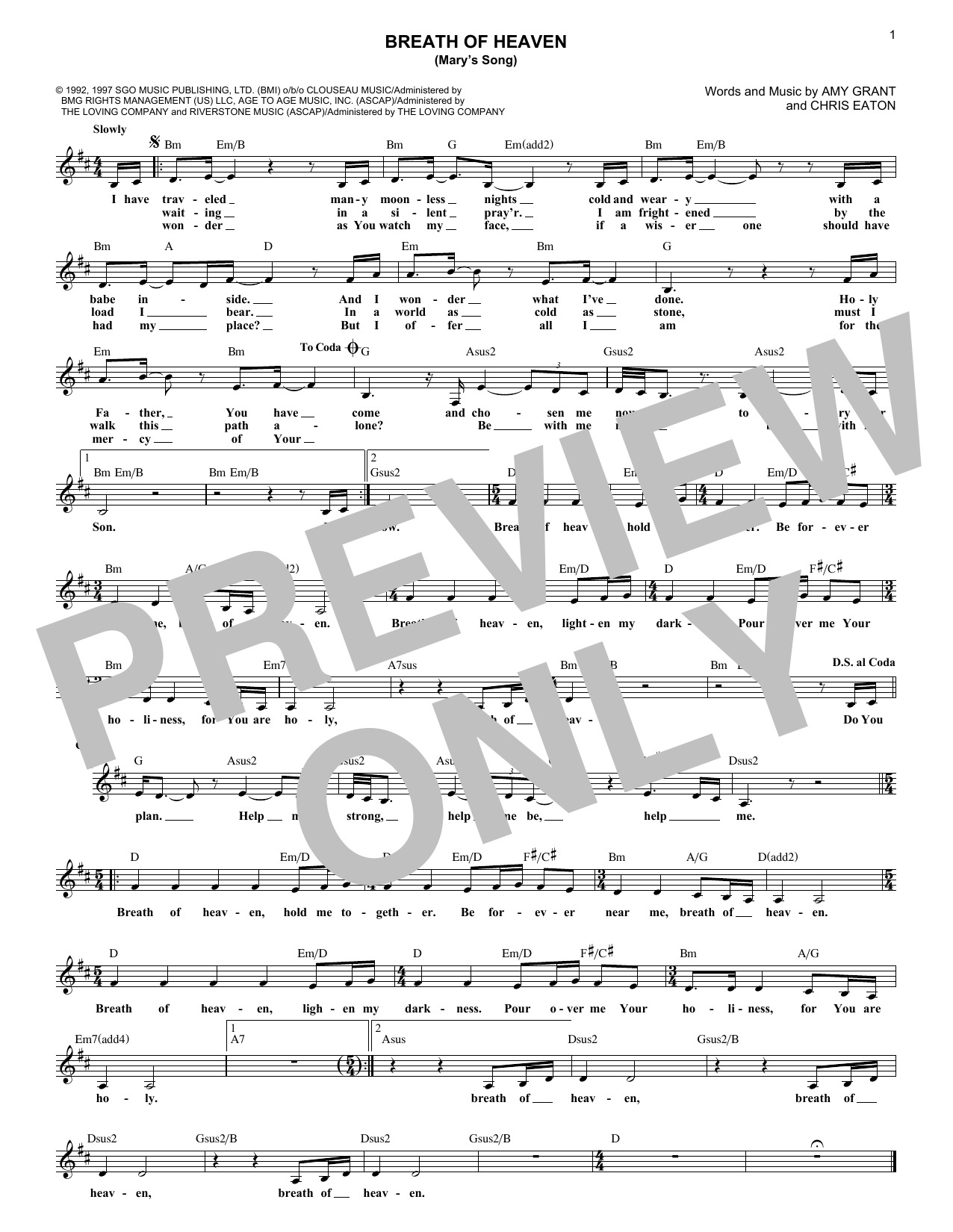 Breath Of Heaven (Mary's Song) (Lead Sheet / Fake Book)