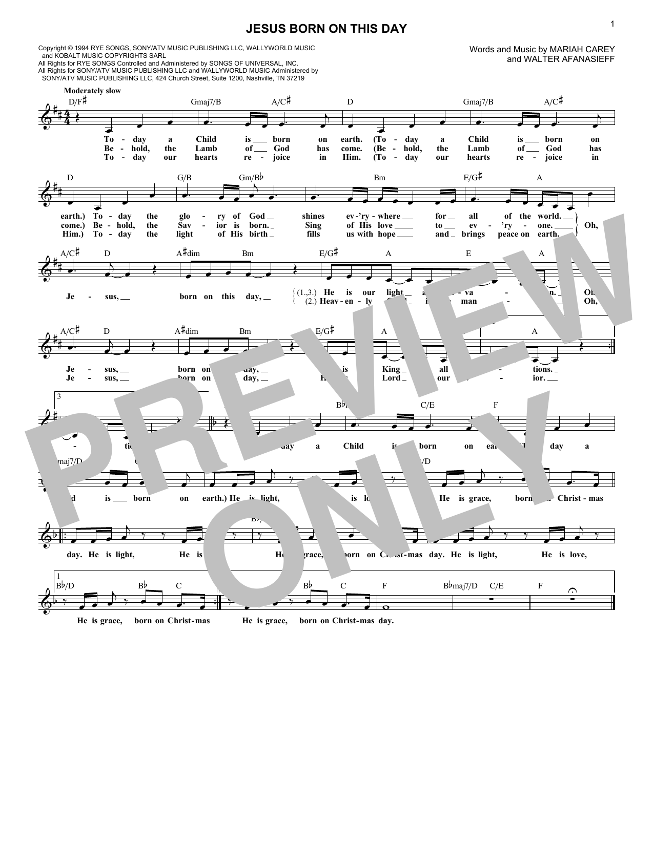 Jesus Born On This Day (Lead Sheet / Fake Book)