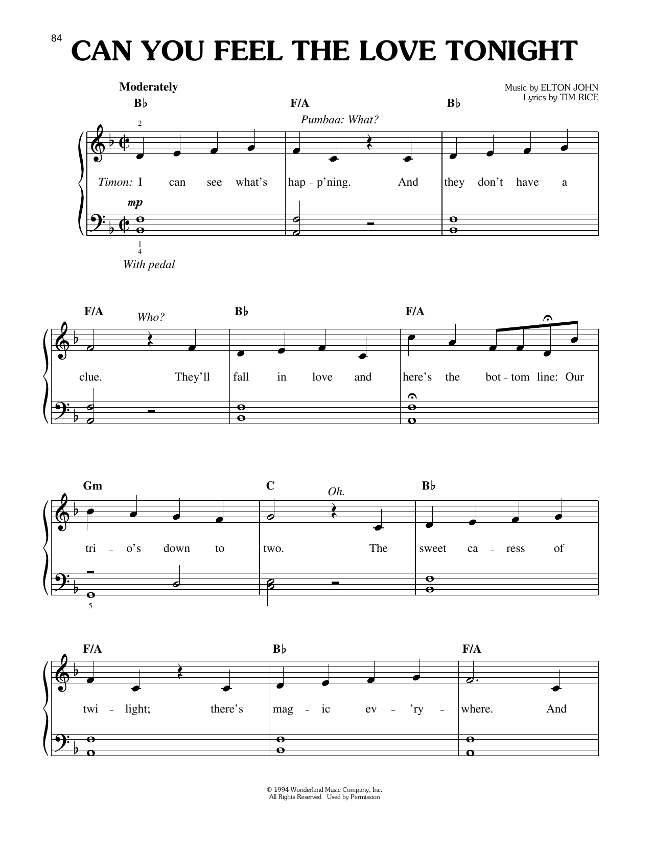 Can You Feel The Love Tonight (from The Lion King: Broadway Musical) (Easy Piano)