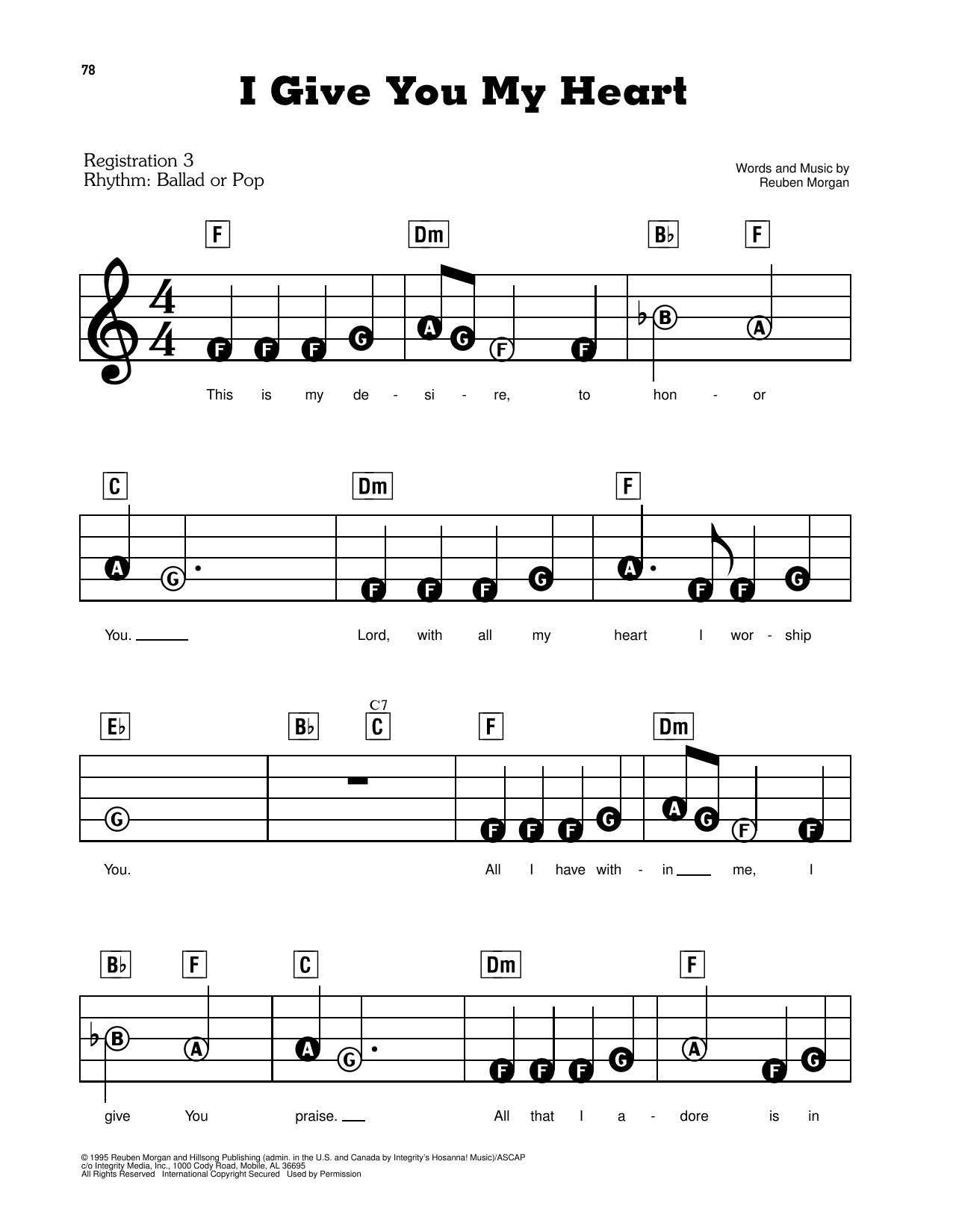 I Give You My Heart Sheet Music