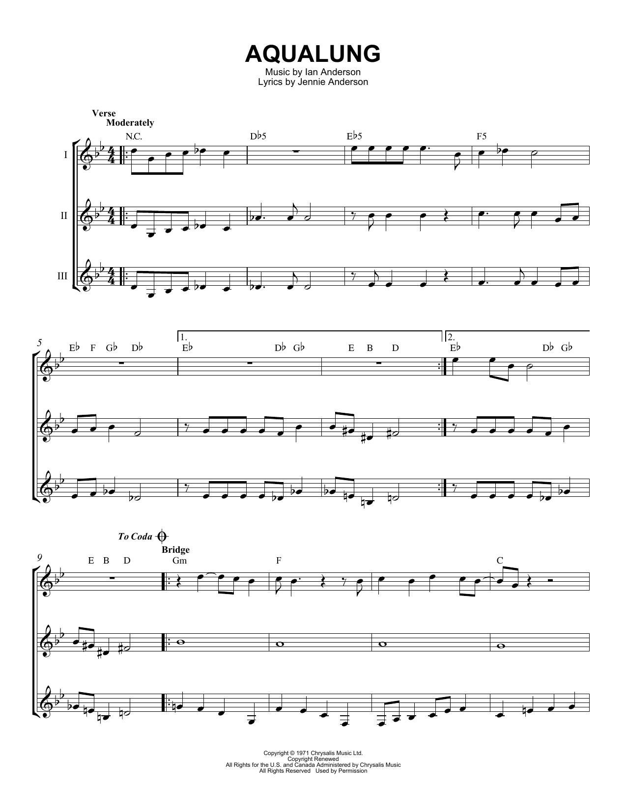 Aqualung Sheet Music