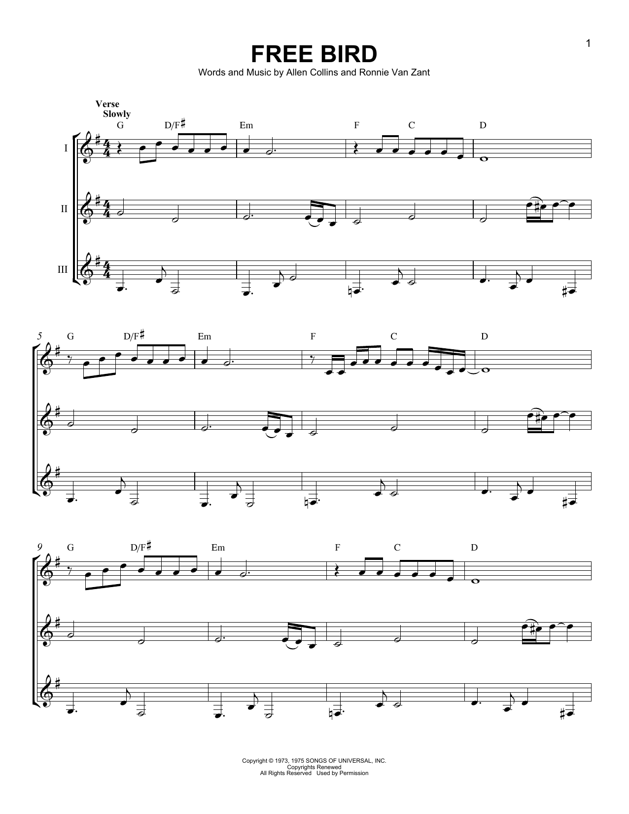 Free Bird Sheet Music