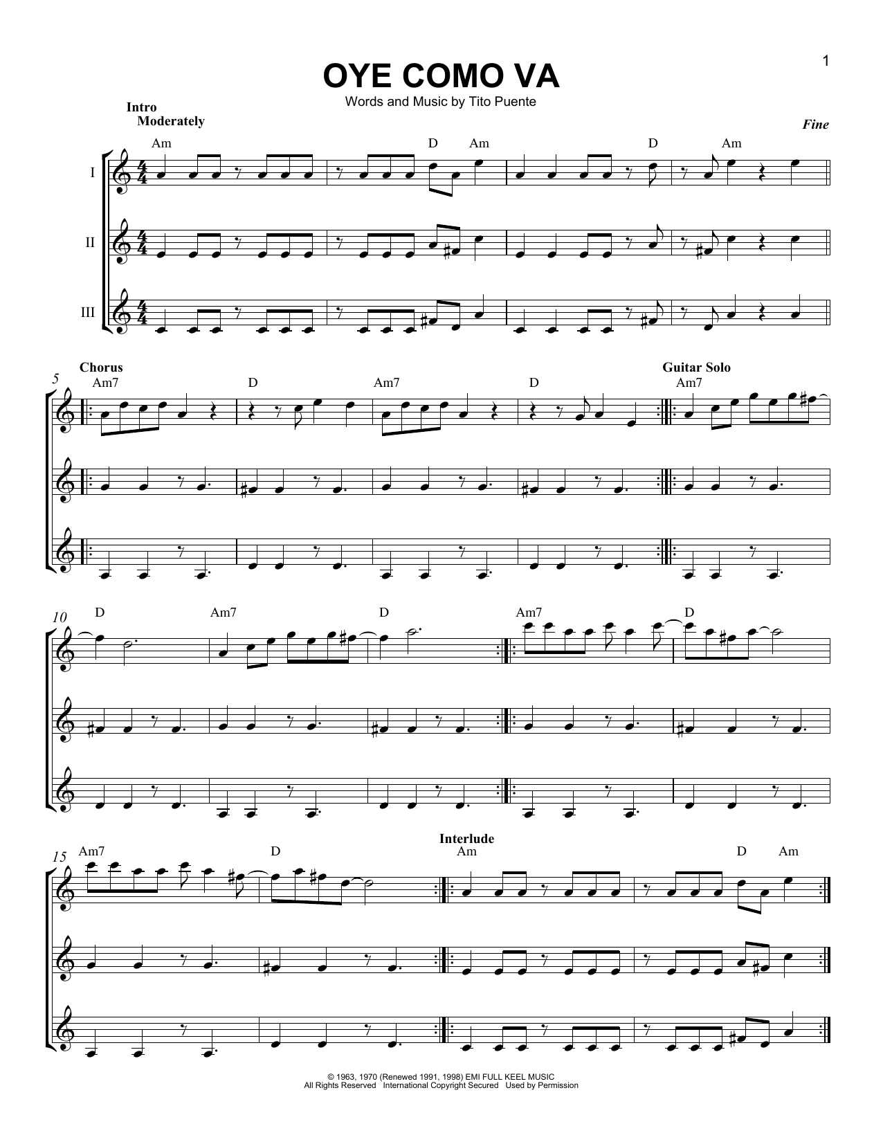 Oye Como Va Sheet Music By Santana Guitar Ensemble 165729