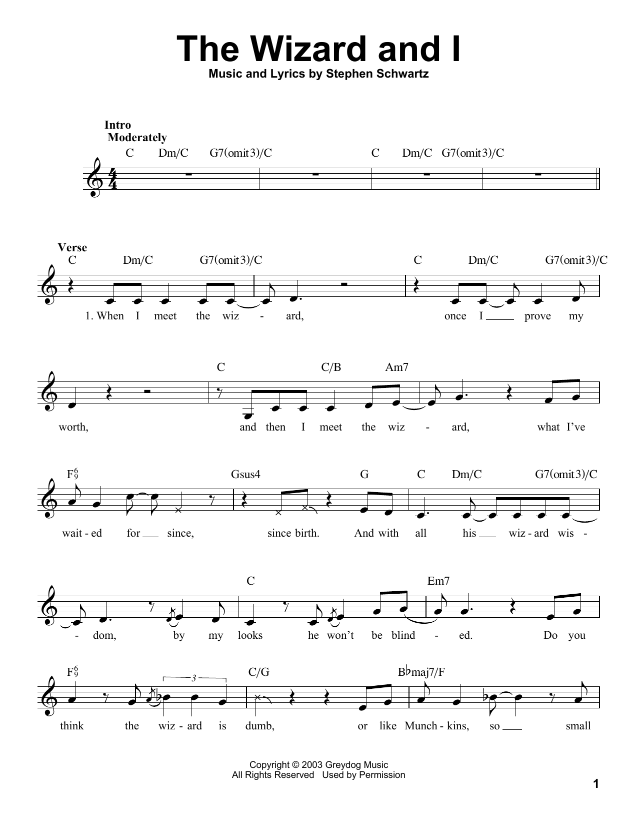 The Wizard And I Sheet Music