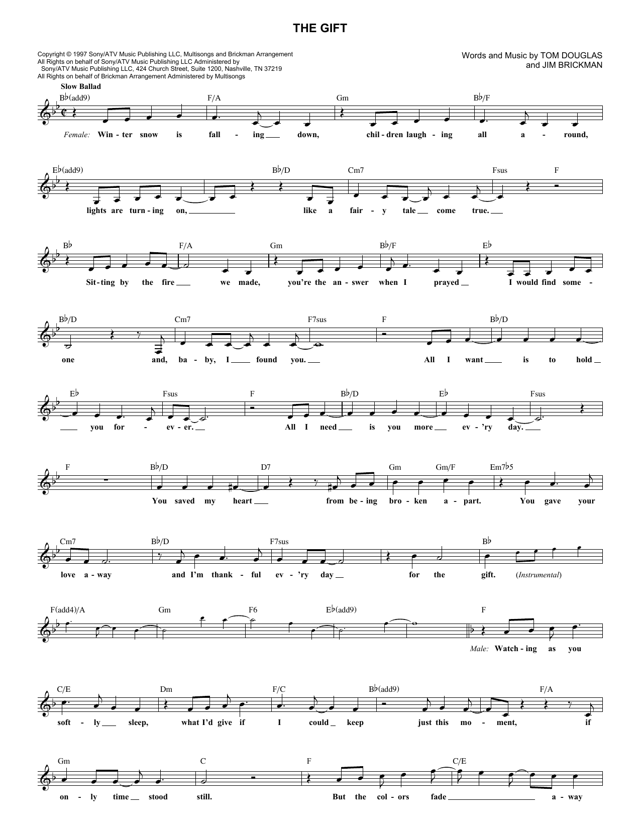 The Gift (Lead Sheet / Fake Book)