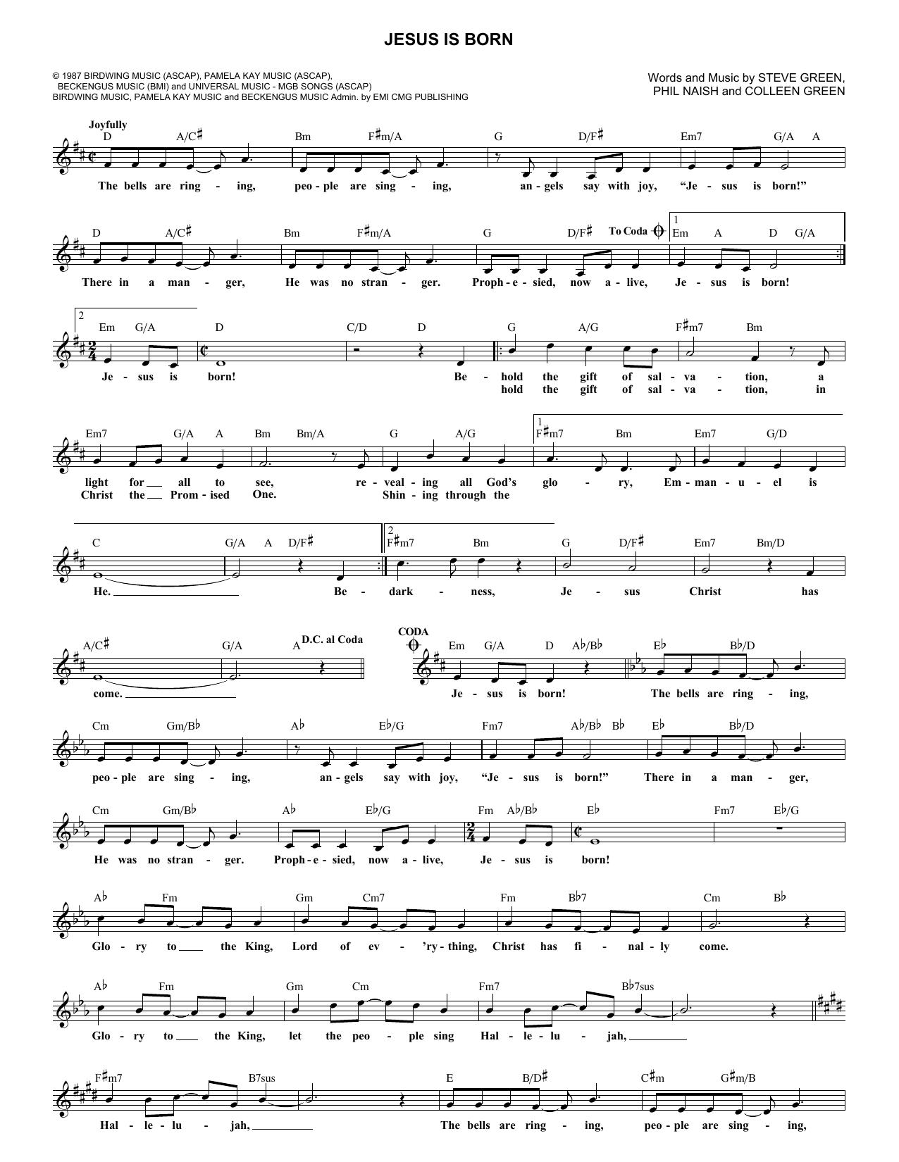 Jesus Is Born (Lead Sheet / Fake Book)