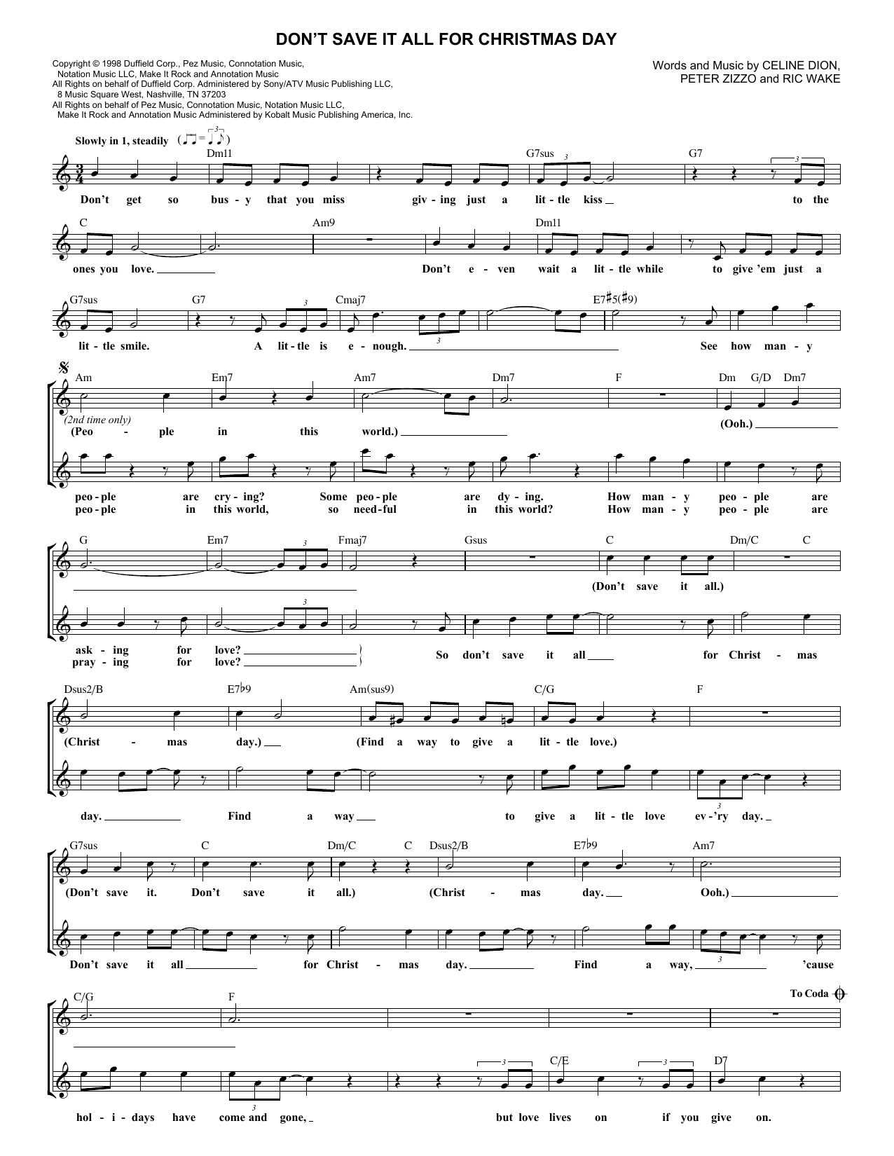 Don't Save It All For Christmas Day (Lead Sheet / Fake Book)