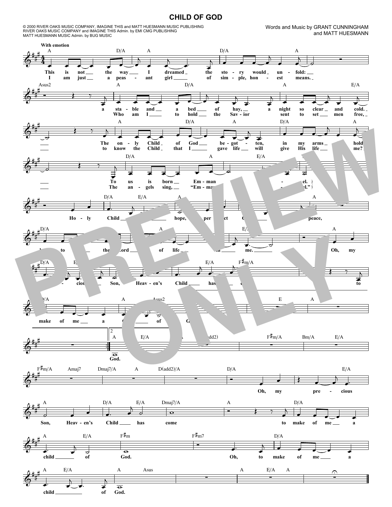 Child Of God Sheet Music
