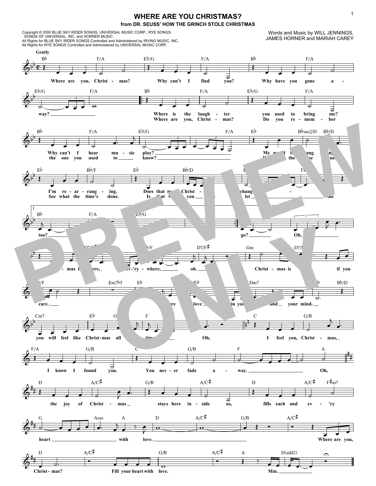 Where Are You Christmas? (from How The Grinch Stole Christmas) (Lead Sheet / Fake Book)