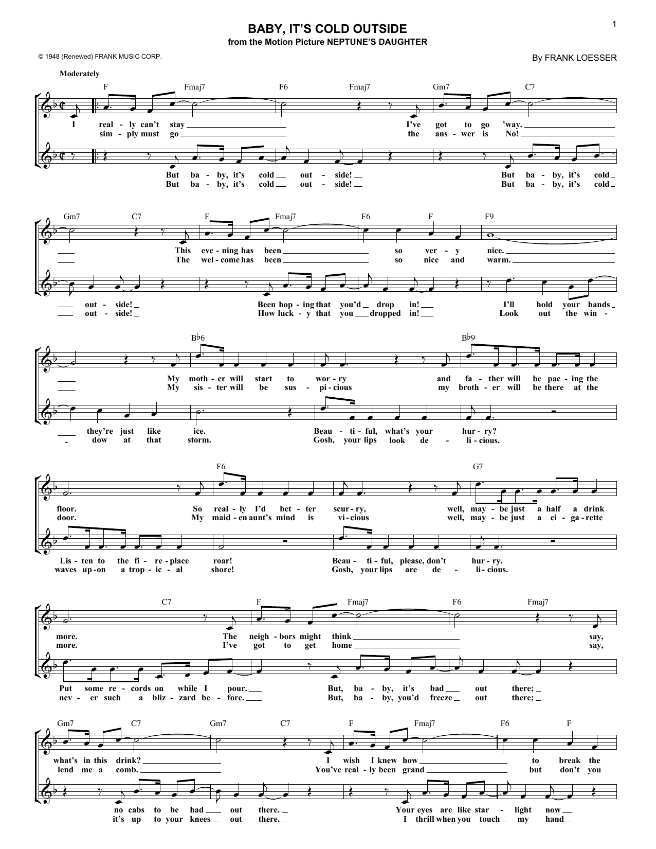 Baby, It's Cold Outside (Lead Sheet / Fake Book)
