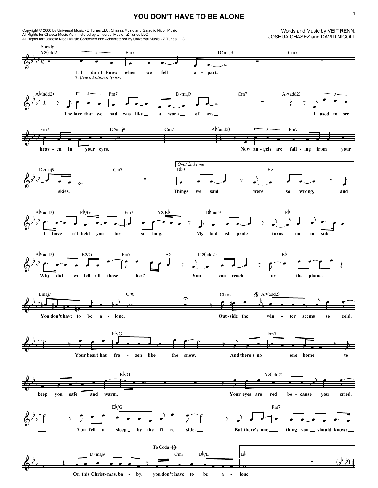 You Don't Have To Be Alone (Lead Sheet / Fake Book)