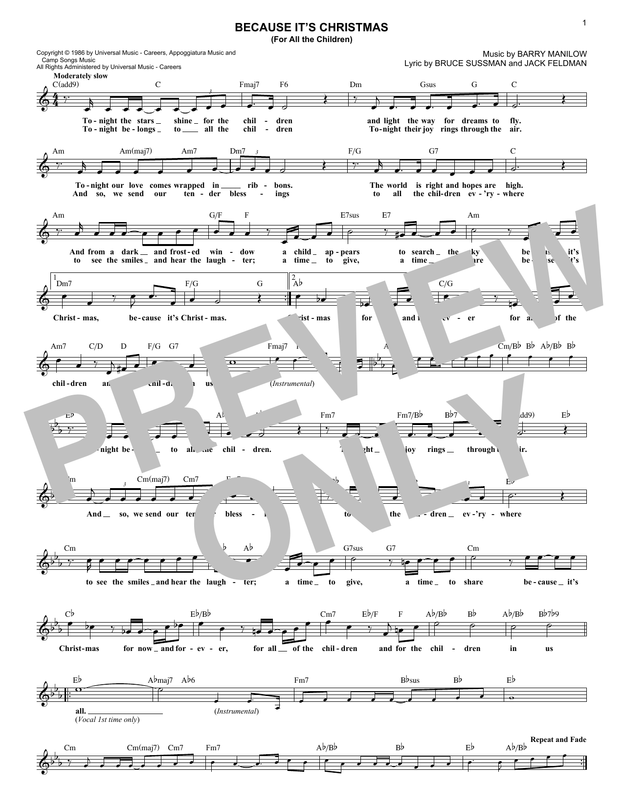 Because It's Christmas (For All The Children) (Lead Sheet / Fake Book)