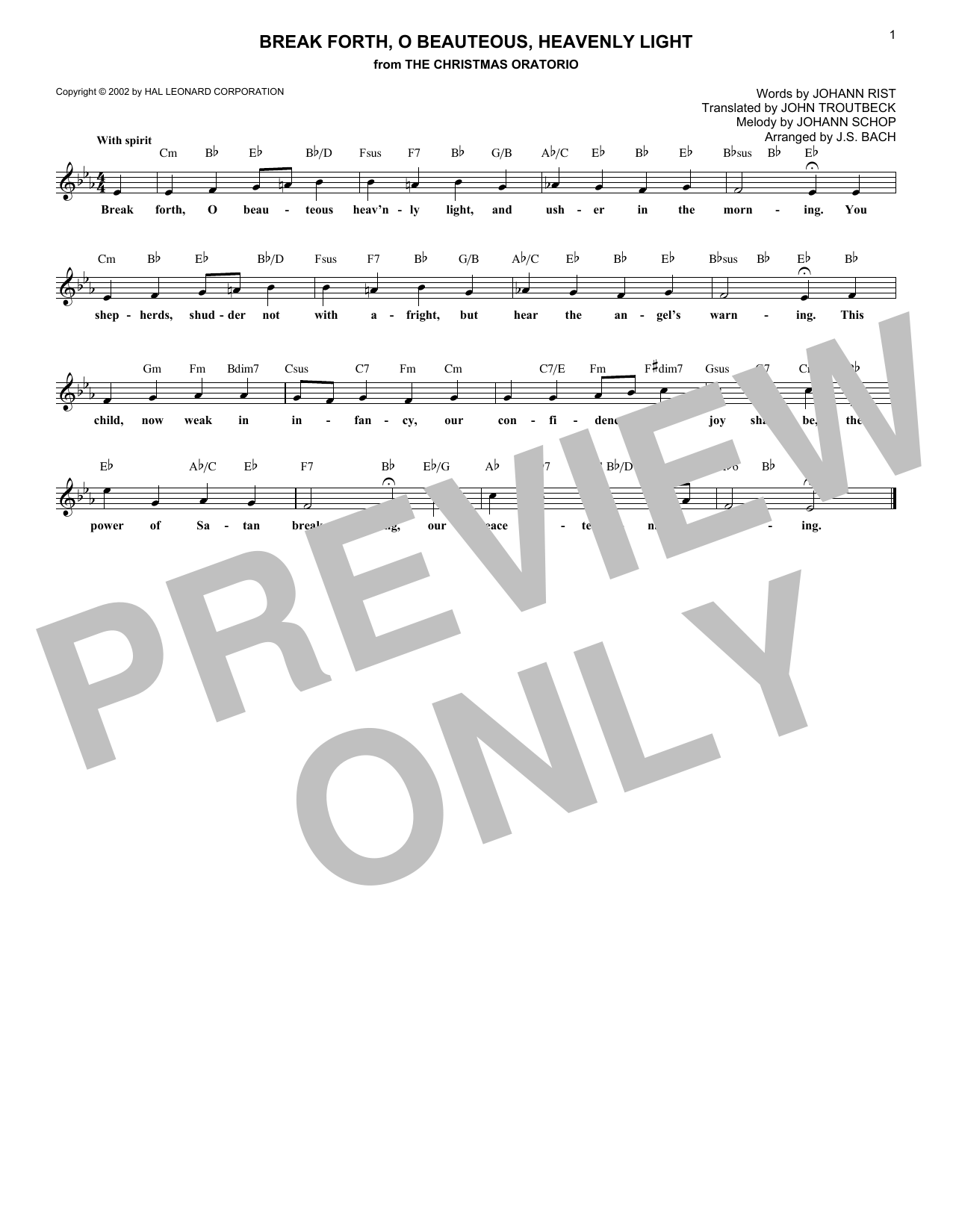 Break Forth, O Beauteous, Heavenly Light (Lead Sheet / Fake Book)