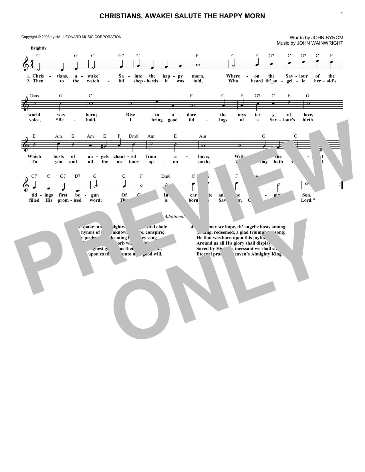 Christians, Awake! Salute The Happy Morn (Lead Sheet / Fake Book)