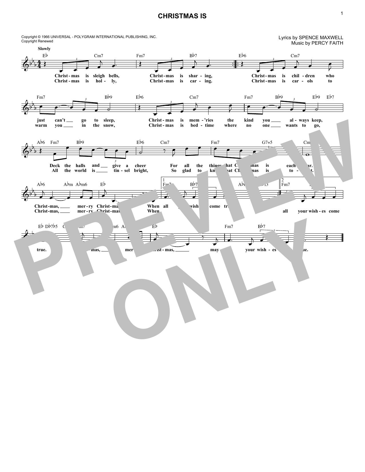 Christmas Is (Melody Line, Lyrics & Chords)
