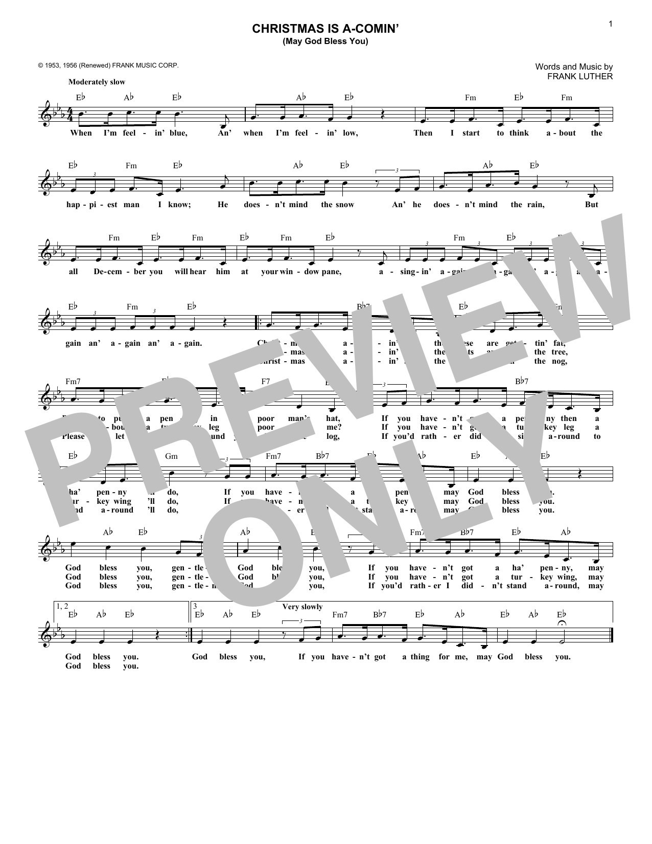 Christmas Is A-Comin' (May God Bless You) (Lead Sheet / Fake Book)