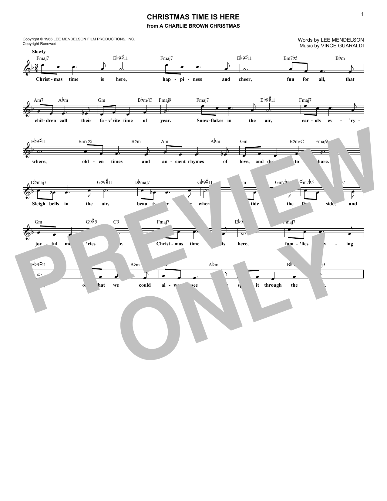 Christmas Time Is Here (Lead Sheet / Fake Book)