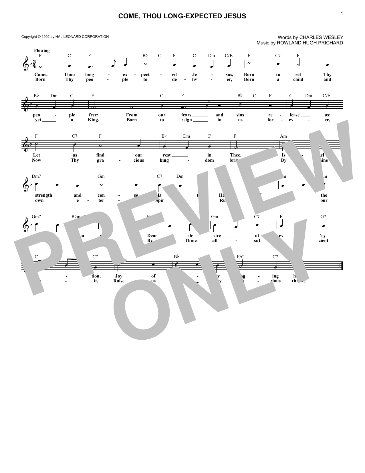 Come, Thou Long-Expected Jesus (Lead Sheet / Fake Book)